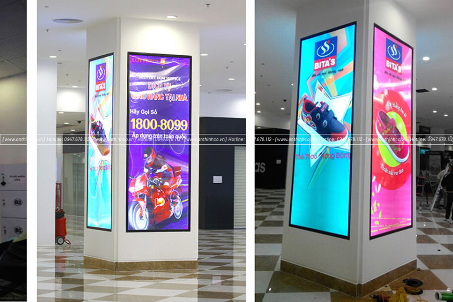 Hộp đèn quảng cáo dạng trụ trong TTTM