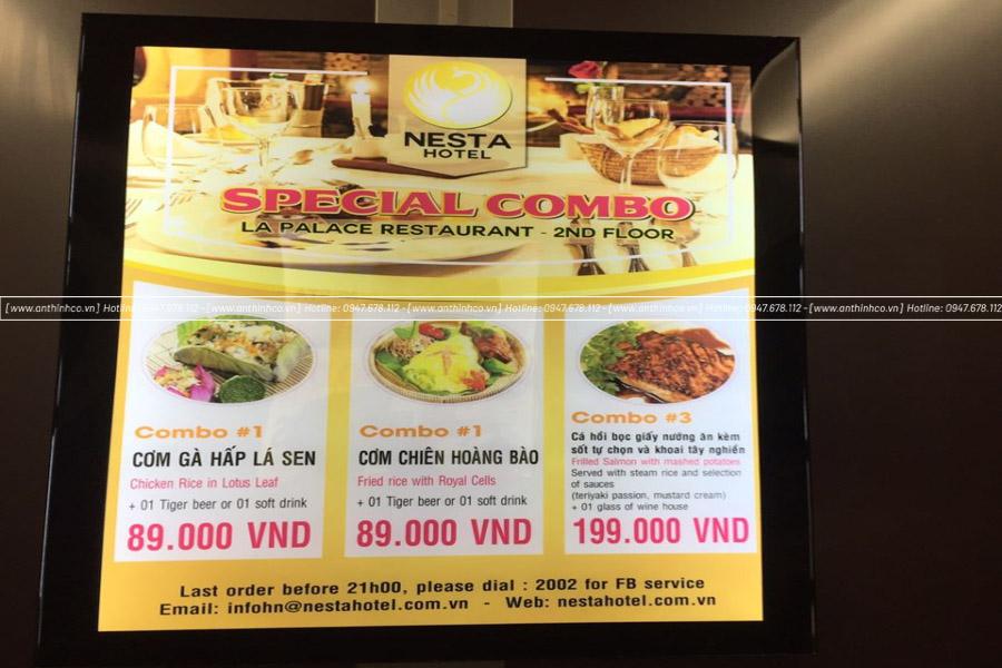 Hộp đèn quảng cáo siêu mỏng cho quán ăn